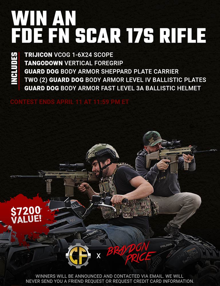 Contest - Win An FDE FN Scar 17S Rifle w/ Trijicon VCOG Scope & Guard Dog Body Armor Package
